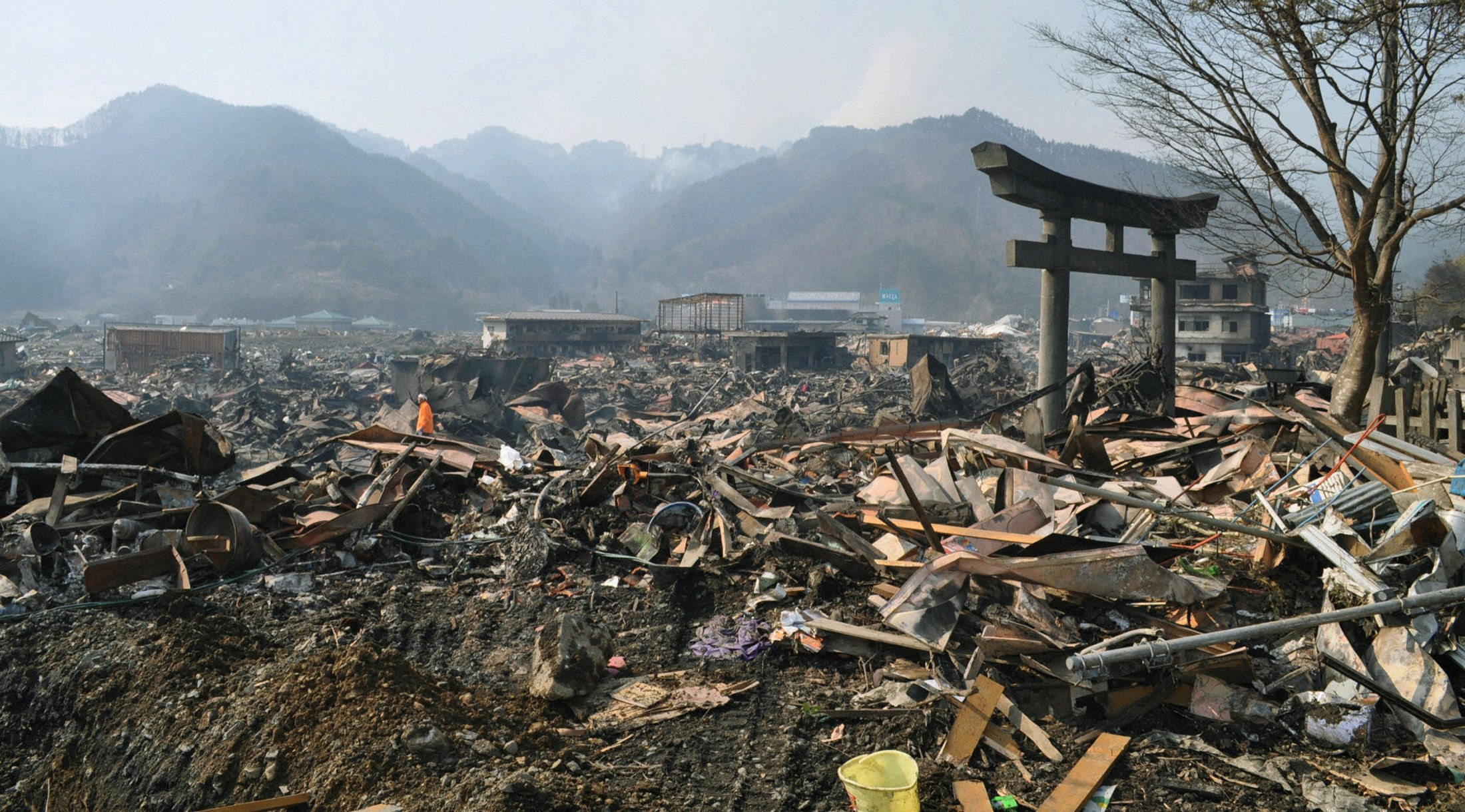 destroyed landscape is pictured in otsuchi village boufosnews